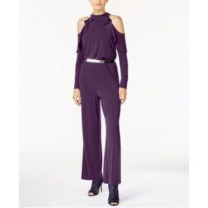 Thalia Sodi Purple Cold Shoulder Jumpsuit Medium